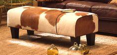 Exotic Animal Print Arhaus Cowboy Round Ottoman & Leather Bench