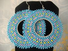 Beadwork Hoop Earrings Cotton Candy Pastel Seed Bead Earrings made with blue, yellow, pink and lavender seed beads - 27 EUR, loja WorkofHeart - ETSY - EUA Big Earrings, Seed Bead Earrings, Beaded Earrings, Seed Beads, Beaded Jewelry, Crochet Earrings, Hoop Earrings, Swarovski Crystal Beads, Crystal Earrings