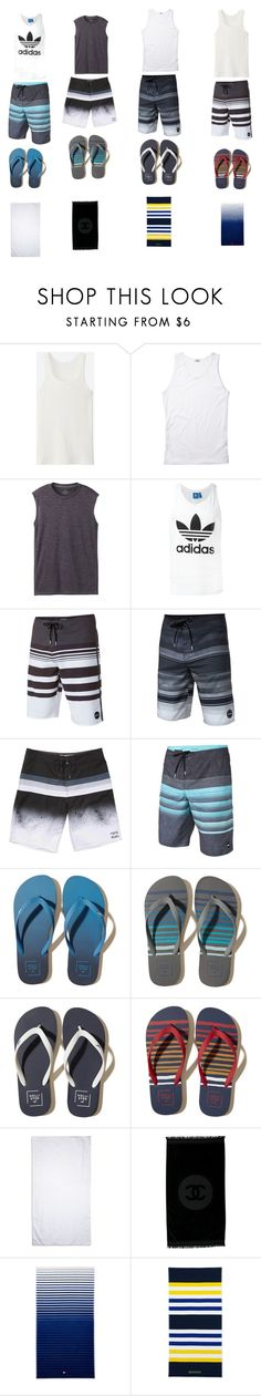 """""""Day at the beach part 2"""" by kaylee-defoe ❤ liked on Polyvore featuring Uniqlo, prAna, adidas Originals, O'Neill, Billabong, Hollister Co., Alexander McQueen, Chanel, Tommy Hilfiger and Lands' End"""