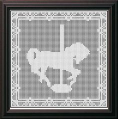 Filet Crochet Patterns - Other Animals - CAROUSEL HORSE FILET CROCHET PATTERN Afghan Hanging