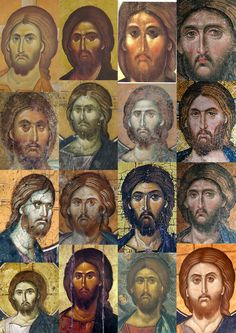 Various depictions of Jesus Images Of Christ, Religious Images, Religious Icons, Religious Art, Byzantine Icons, Byzantine Art, Paint Icon, Jesus Christus, Jesus Face