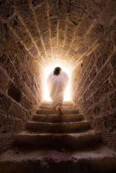 Jesus walks out of the tomb in a depiction of the resurrection of Jesus Christ. Happy Resurrection Sunday, Jesus Resurrection, Walking Up Stairs, Image Jesus, Pictures Of Jesus Christ, Biblical Art, He Is Risen, Jesus Is Risen, Kirchen