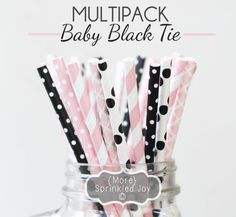 BABY BLACK TIE Paper Straws Multipack Pinks & Black