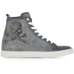 Philipp Plein Skulls Grey Suede w/Crystals Sneaker (1,110 NZD) ❤ liked on Polyvore featuring shoes, sneakers, converse, sapatos, tenis, lace up shoes, grey suede shoes, philipp plein shoes, laced shoes and skull shoes