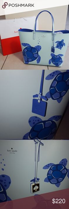 "KATE SPADE Turtle Tote Authentic, new with tags. Light blue with periwinkle trim and turtles. Made of genuine leather.  Super adorable, great for the beach, pool, vacation or just when you want to feel on vacation.   18""?13""?6"" kate spade Bags"