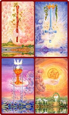 The four suits to the tarot deck are the wands, cups, pentacles and Swords. Each Suit corresponds to a particular element: Fire, Water, Earth and Air. They also correspond to the different seasons of the year: Spring, Summer, Fall and Winter.
