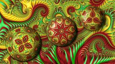 Fractal Kaleidoscope Christmas Ornaments by wolfepaw.deviantart.com