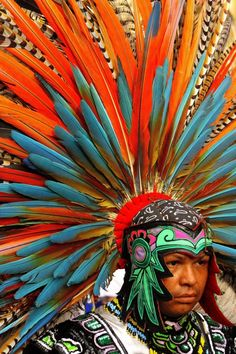 Tribal wear ~ gorgeous Aztec Feather headdress, Mexico