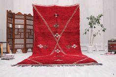 Red berber Carpet 5x10 Hand knotted rug Berber Handwoven berber kilim carpets berber, Beni Ouraian Rug, tapis berber beni ourain carpet