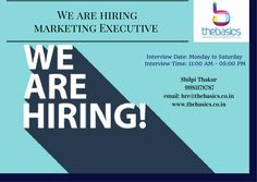 "Still position available, Interviews going-on for ""Marketing Executive"" interested candidates don't wait more. hurry-up and contact on the given no. We Are Hiring, Job Posting, Interview, Positivity, Marketing, Image"