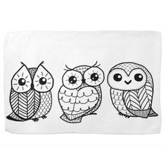 Black and white owls *Just for inspiration.  Very cute doodles. Links to a shop.*