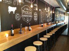 fantastic décor and layout Firma Pickles - Burgers & Wines Restaurant Utrecht Deco Restaurant, Burger Restaurant, Utrecht, Cafe Bar, Sestri Levante, Bar A Vin, Pub Design, Design Poster, Tap Room