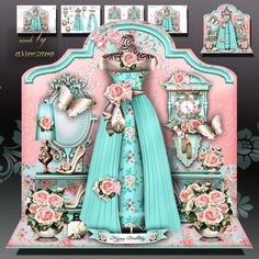 Turquoise Dressing Room Card Mini Kit on Craftsuprint designed by Atlic Snezana - Turquoise Dressing Room Card Mini Kit: 4 sheets for print with decoupage for 3D effect plus few sentiment tags (for your own personal text) - Now available for download!