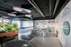 Located in the Airport City business centre in Belgrade, Catena Media office is the latest project by Serbian architects Studio AUTORI. Office Interior Design, Office Interiors, Office Designs, Contemporary Office, Contemporary Design, Timber Walls, Glass Office, Open Office, Lunch Room