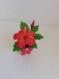 #Hibiscus #flowers #Thai clay #Thai #Clay #ceramic #orchids #handmade #craft # Bonsai #pink # realistic #flower