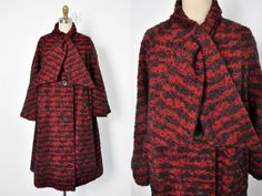 Vintage 1950's Red and Black Boucle Wool Coat by BombyxVintage