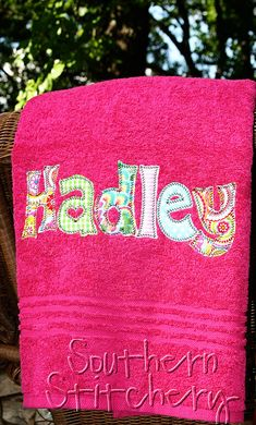 Applique Name Towel Girls Personalized Bath Towel Great Girls Christmas Gift on Etsy, $20.00