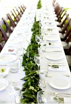 Salal table runner, simple yet beautiful centerpieces for wedding reception. Wedding Centerpieces, Wedding Decorations, Table Decorations, Garland Wedding, Wedding Tables, Centrepieces, Reception Table, Table Garland, Leaf Garland