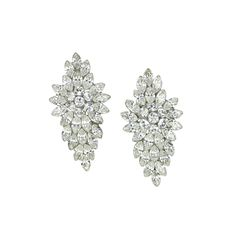 Felica Deco Leaf Earrings - in Swarovski Crystal - Bridal Jewellery - Crystal Bridal Accessories