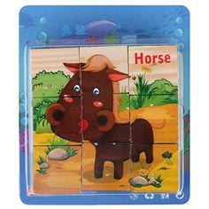 Happy Cherry Kinder Spielzeug Holz Geb�ude Holzpuzzle Kinderspielzeug Holzspielzeug f�r Baby Lernspielzeug Wooden Toys Puzzle Blocks von 9 Sets - Bauernhof