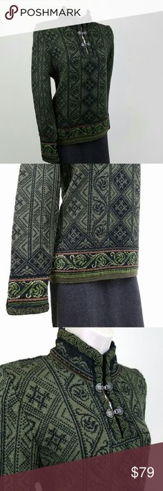Dale of Norway sweater Dale of Norway Voss sweater in green.  Long-sleeved sweater inspired by the bridal version of the Voss bunad (Norwegian national costume), featuring intricate knitted patterns, embroidered detail, and heart-shaped pewter clasps at neck and cuff.  Bust 17.5 / length 24 inches.  100% pure new wool.  Thanks for visiting my closet; come back soon & see what's new!  I add listings every week! Dale of Norway  Sweaters