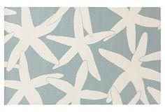 One Kings Lane - Textured Ground - Starfish Flat-Weave Rug, Powder Blue