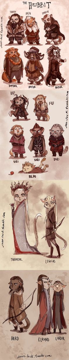 I did some time ago for fun. I turned the Hobbits cast as cats. Although it would've made more sense I guess if the dwarves were dogs and the elves were cats, but my watchers know that I love cats,...