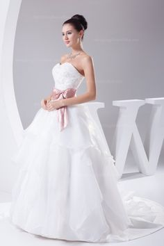 SWEETHEART A-LINE PRINCESS ORGANZA WEDDING DRESS WITH COLORE