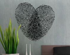 Fingerprint Heart Wall Decal by Uber Decals - eclectic - decals - - by Etsy