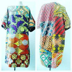 Carla Orange mix Boho dress, short summer print dresses for women, African clothing, loose fit kimono sleeve Ankara dresses by Sosome