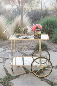 Tracy and Michael's Red Tail Ranch wedding in Ojai, California was captured by Ojai wedding photographer Anna Delores Photography. Bar Cart Styling, Tray Styling, Bar Cart Decor, Gold Bar Cart, Tea Cart, Serving Cart, Home Curtains, Relax, Chinoiserie Chic