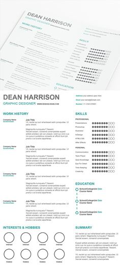 Download Minimal and Clean resume Free PSD Template A Clean - simple professional resume template