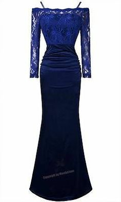 Lace See Through Padded Slim Fit Long Sleeves Evening Gowns 18 Blue