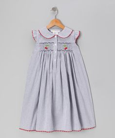 Secret Wishes Navy Stripe Cherry Smocked Button-Up Dress - Toddler | zulily