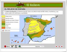 """""""El relieve de España"""" (Actividad interactiva de Ciencias Sociales de Primaria) Social Studies, Spain, Study, School, Ss, Maps, Socialism, Interactive Activities, School Projects"""