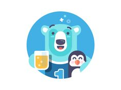 Polar Buddies - illustration designed by Andrew McKay. Connect with them on Dribbble; Flat Design Illustration, Graphic Illustration, Illustrations, Fathers Day Post, Ios App Design, Drawing People, Polar Bear, How To Draw Hands, Digital Art