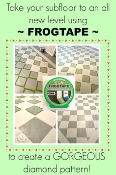 Tired of your nasty carpet? Paint your plywood subfloor then add a diamond pattern to it with FrogTape and a second paint color! Painting Plywood, Painted Plywood Floors, Plywood Subfloor, Painting Carpet, Painting Concrete, Concrete Lamp, Concrete Design, Stained Concrete, Painted Wood