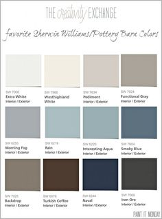 Pretty Blue Paint color from Pottery Barn. Favorite Pottery Barn paint colors from Sherwin Williams 2014 Collection Pottery Barn Paint Colors, Interior Paint Colors, Paint Colors For Home, House Colors, Paint Colours, Teal Paint, Paint Schemes, Color Schemes, My New Room