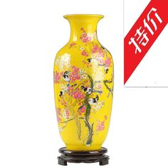 Check Discount Jingdezhen Ceramic Famille Rose Porcelain Vase Beaming Yellow Glazed Pottery #Glazed #Pottery