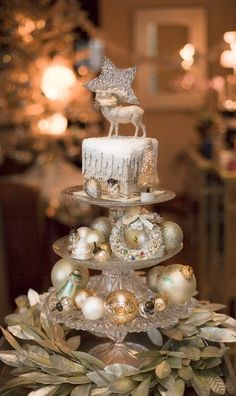 glittered Christmas décor on a tiered server