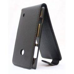 Upea musta keinonahkainen läppäkotelo Lumia 520:n.