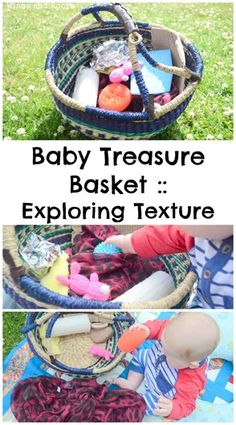 A treasure basket for babies and toddlers to explore texture