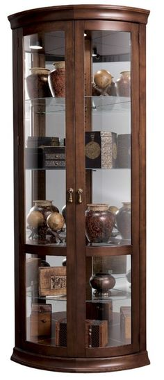 This Chancellor Corner Curio Cabinet Features Five Levels Of Display E With Three Gl Shelves And One Wood Shelf Insert Mirrored