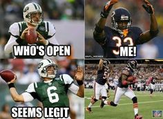 I hate to laugh, but this is hilarious. Mark Sanchez is the worst Quarterback EVER. The New York Post adds: Mark Sanchez haters, you have a new lead clip for your lowlight reel. Nfl Jokes, Funny Football Memes, Basketball Memes, Funny Sports Memes, Sports Humor, Chiefs Memes, Volleyball Funny, Cowboys Memes, Soccer Humor