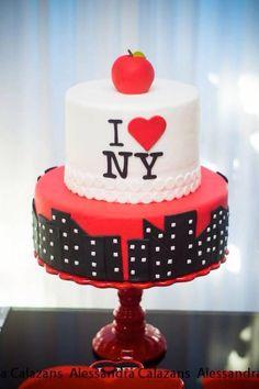 New York City Bridal Shower via Kara's Party Ideas KarasPartyIdeas.com #iloveny #iheartny #newyorkcity Cake, decor, invitation, supplies, and more! (6)