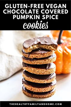 These healthy plant-based Gluten-Free Vegan Chocolate Frosted Pumpkin Spice Cookies are an easy recipe to make with only 6 clean, real food ingredients, they're ready to enjoy in under 20 minutes and are also dairy-free, egg-free, soy-free, grain-free, contain no refined sugar and paleo-friendly. #glutenfree #vegan #cookies #pumpkinspice #chocolate #cutoutcookies Egg Free Recipes, Real Food Recipes, Vegan Recipes, Paleo Vegan, Flour Recipes, Vegan Baking, Baking Recipes, Quick Healthy Desserts, Clean Eating Desserts