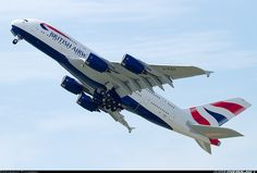 Airbus A380-841 aircraft picture. British Airways taking off