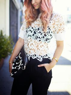 black and white, lace