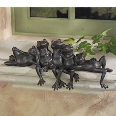 Home & Garden Garden Decor Statue Frogs Set Of 3 Outdoor Patio Ornaments Yard Decorations Art Can Be Repeatedly Remolded. Garden Décor