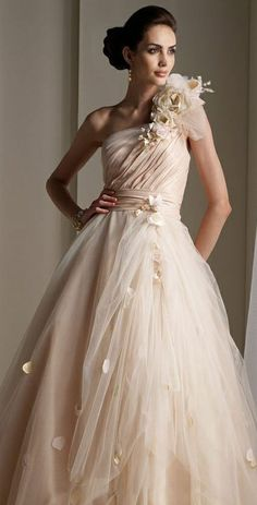 Wedding Dress  ---  Floor-length, One-shoulder, Champagne, Ball Gown